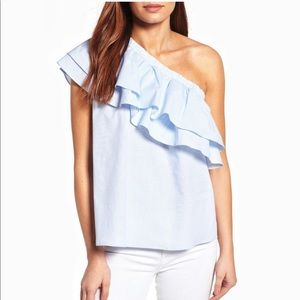 Halogen Ruffle Striped One-shoulder Blouse